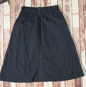 Mossimo Mid Waist Button Down Eyelet Black Skirt